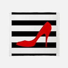 Red High Heel on Stripes Throw Blanket