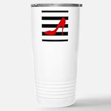 Red High Heel on Stripes Travel Mug