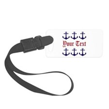 Personalizable Red and Navy Anchors Luggage Tag