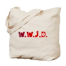 Red Hippie WWJD Tote Bag