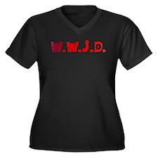 Red Hippie WWJD Women's Plus Size V-Neck Dark Tee