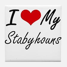 I Love My Stabyhouns Tile Coaster