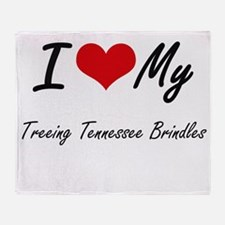 I Love My Treeing Tennessee Brindles Throw Blanket