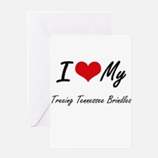 I Love My Treeing Tennessee Brindle Greeting Cards
