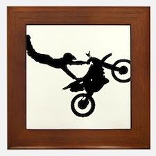 motorcross bike jumping Framed Tile