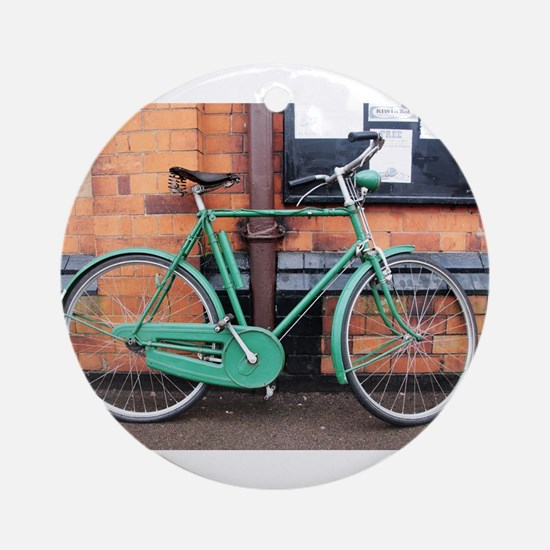 Green Bicycle Vintage Round Ornament