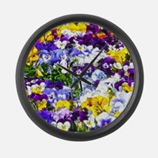 Pansies Large Wall Clock