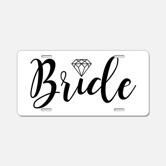 Chic Typography - Bride Aluminum License Plate