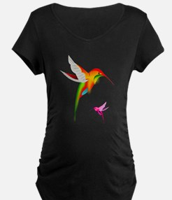 Colorful Hummingbirds Birds Maternity T-Shirt