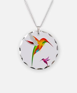 Colorful Hummingbirds Birds Necklace Circle Charm