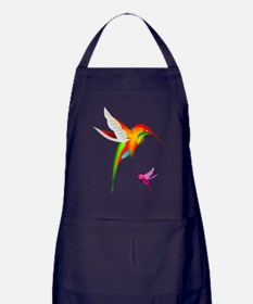 Colorful Hummingbirds Birds Apron (dark)