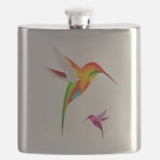Colorful Hummingbirds Birds Flask