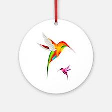Colorful Hummingbirds Birds Round Ornament