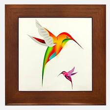Colorful Hummingbirds Birds Framed Tile