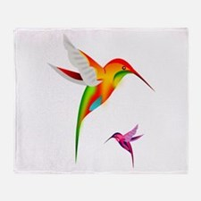 Colorful Hummingbirds Birds Throw Blanket