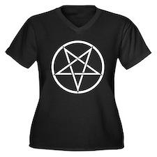 Pentagram Women's Plus Size V-Neck Dark T-Shirt