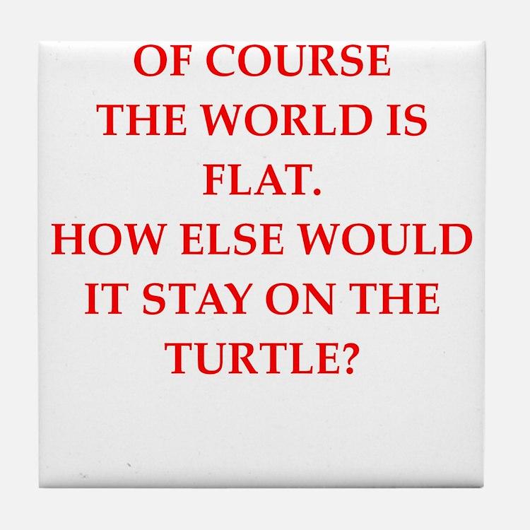 flat,earth,society Tile Coaster
