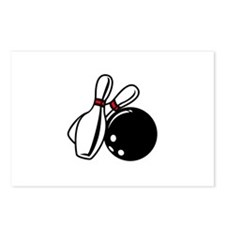 BOWLING BALL AND PINS Postcards (Package of 8)