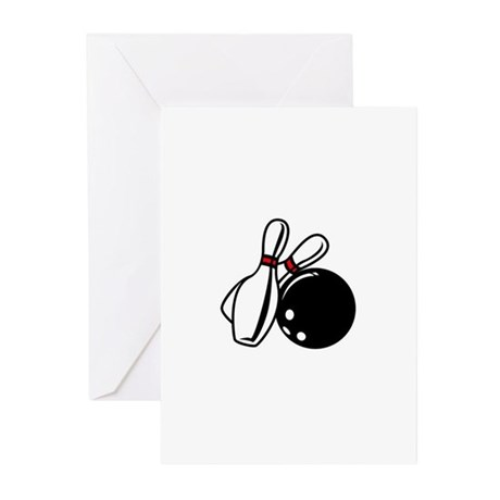 BOWLING BALL AND PINS Greeting Cards (Pk of 10)