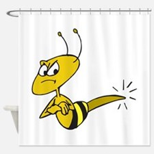 Funny Angry Bee Comics Shower Curtain