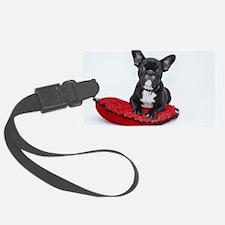 Cute Dog on Heart Cushion Luggage Tag