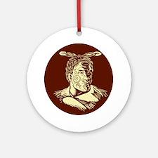 Maori Chieftain Head Oval Woodcut Round Ornament