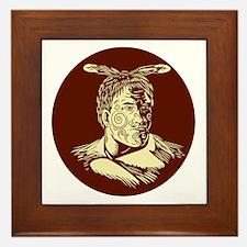 Maori Chieftain Head Oval Woodcut Framed Tile