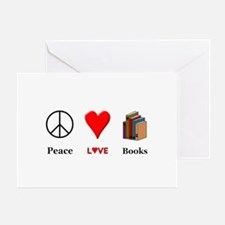 Peace Love Books Greeting Card