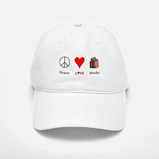 Peace Love Books Baseball Baseball Cap