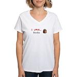 I Love Books Women's V-Neck T-Shirt