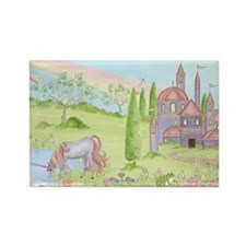 Castle - Unicorn Rectangle Magnet