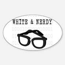White & Nerdy Oval Decal
