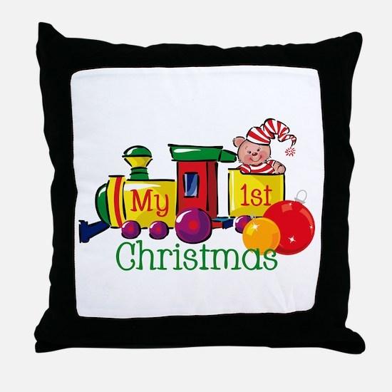 Train 1st Christmas Throw Pillow