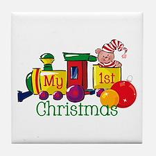 Train 1st Christmas Tile Coaster
