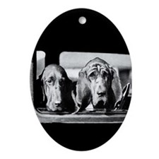 Vintage Bloodhound Oval Ornament
