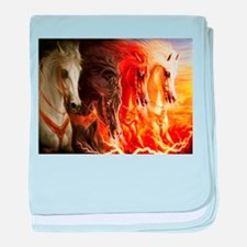 Abstract 3d Horses baby blanket