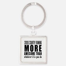 Cross Country Running More Awesome Square Keychain