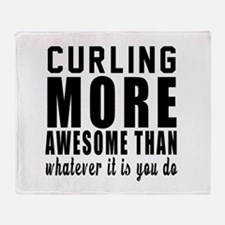 Curling More Awesome Designs Throw Blanket