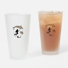 Diver And Sharks Drinking Glass