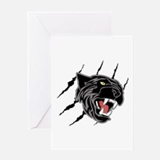Panther Head Claw Marks Greeting Cards