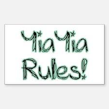 YiaYia Rules! Rectangle Decal