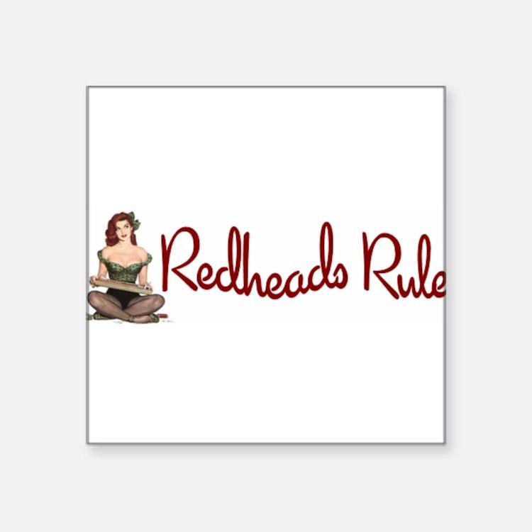 """Cute Redhead pinup Square Sticker 3"""" x 3"""""""