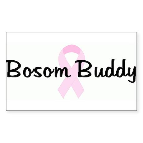 Bosom Buddy pink ribbon Rectangle Sticker