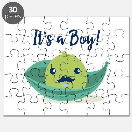 Little Man Mustache Baby Shower Puzzle