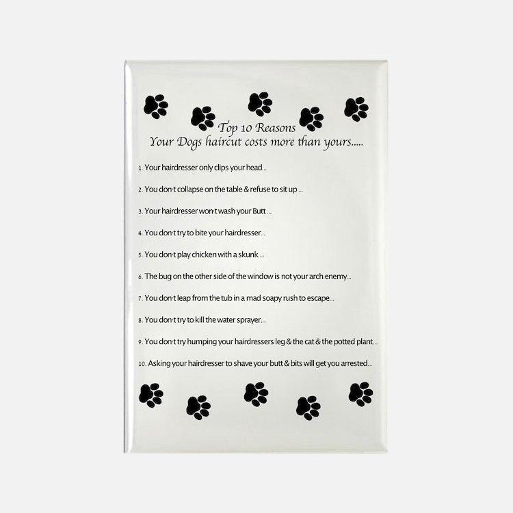 Cute Dog groomer Rectangle Magnet