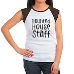 Haunted House Staff Halloween Women's Cap Sleeve T