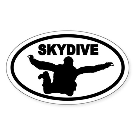 Skydiver Free Fall Oval Sticker