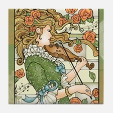 Lady With Violin Tile Coaster