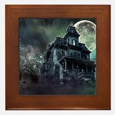 The Haunted House Framed Tile