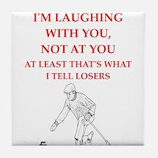 curling joke Tile Coaster